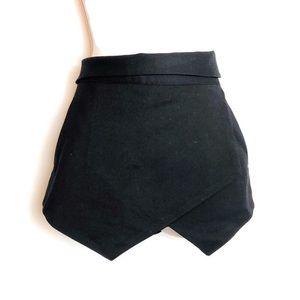 Zara Basic Envelope Skort Black Shorts Back Zip S